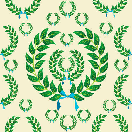 Laurel wreath with a skyblue ribbons seamless pattern background. Vector illustration layered for easy manipulation and customisation. Vector
