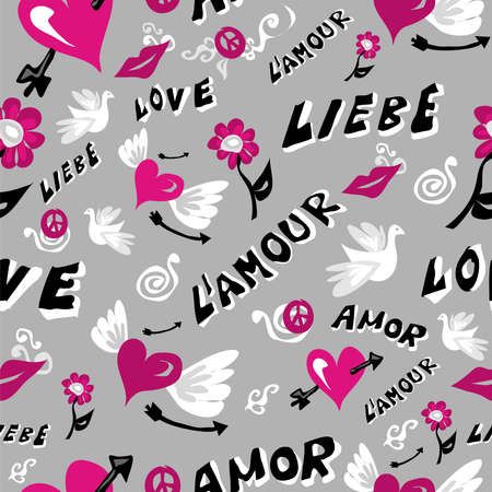 written text: Love symbols seamless pattern. Vector illustration layered for easy manipulation and custom coloring.  Illustration