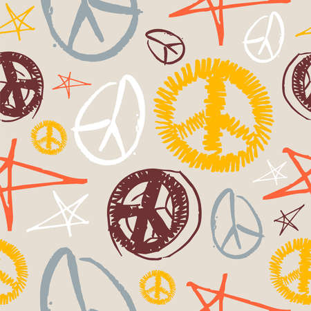seasonal symbol: Colorful peace and love hand drawn icons seamless pattern . Vector file layered for easy manipulation and customisation.