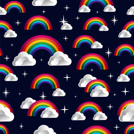 Rainbow and clouds cartoon seamless pattern. Vector illustration layered for easy manipulation and custom coloring. Vector