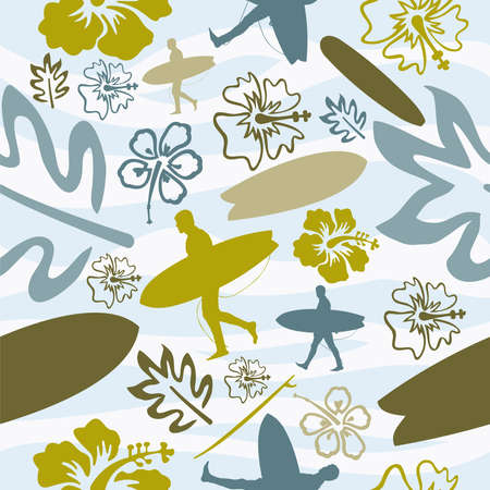 cartoon surfing: Summer beach surfing seamless pattern background. Vector illustration layered for easy manipulation and custom coloring. Illustration