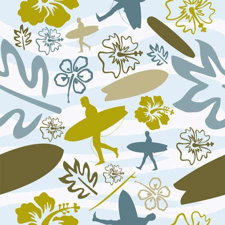 hawaiana: Verano playa surf patr�n de fondo sin fisuras. Ilustraci�n vectorial en capas para una f�cil manipulaci�n y coloraci�n personalizada. Vectores