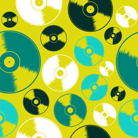 acid colors: Acid colors vinyl records seamless pattern background. Vector illustration layered for easy manipulation and custom coloring.