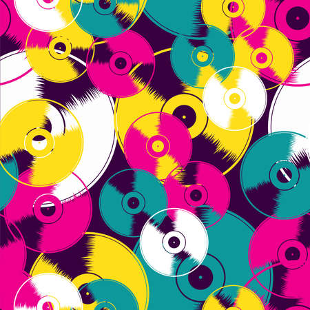 vinyl records: Vinyl record seamless background pattern. Vector illustration layered for easy manipulation and custom coloring. Illustration