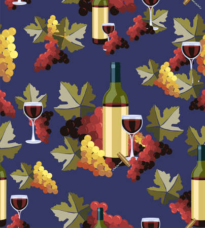 uncorked: Wine Bottle and glass with grapes seamless pattern background. Vector illustration layered for easy manipulation and custom coloring.