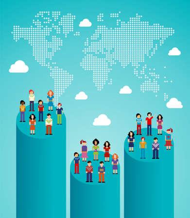 拡大: 世界とソーシャル ネットワークの人々 のグローバル展開統計マップ簡単操作とカスタム彩りに対する階層型ベクトル イラスト  イラスト・ベクター素材