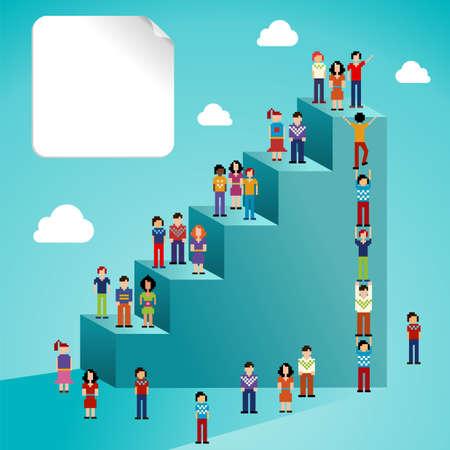 拡大: 簡単な操作とカスタム彩りに対する階層型ソーシャル ネットワーク人々 階段インフォ グラフィック ベクトル イラストのグローバル展開