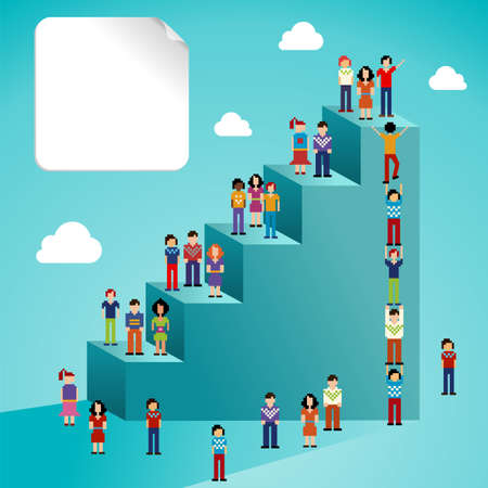 organization development: Global expansion of social network people staircase infographic  Vector illustration layered for easy manipulation and custom coloring  Illustration