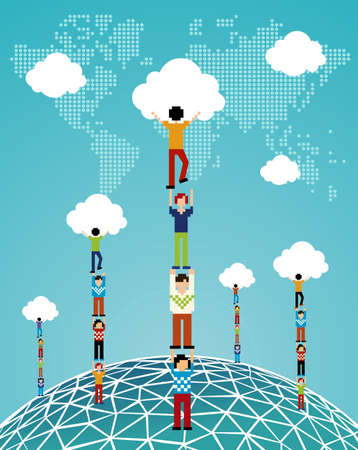 Global expansion of cloud computing concept illustration  Vector illustration layered for easy manipulation and custom coloring  Vector