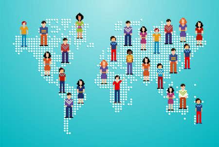 individualit�: Globale dei social media network persone con pi� di illustrazione vettoriale mappa del mondo a strati per una facile manipolazione e la colorazione personalizzata Vettoriali