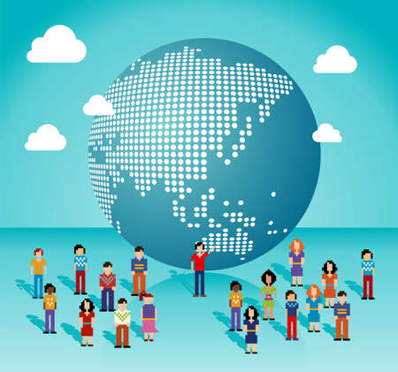 globe people: Global social media people network connection from Asia, Australia and Oceania map  Vector illustration layered for easy manipulation and custom coloring
