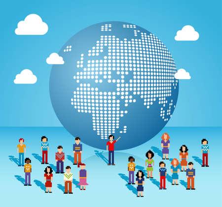 individualit�: Social media globali del collegamento della gente della rete provenienti da Africa, Europa e Medio Oriente mappa illustrazione vettoriale strati per una facile manipolazione e la colorazione personalizzata
