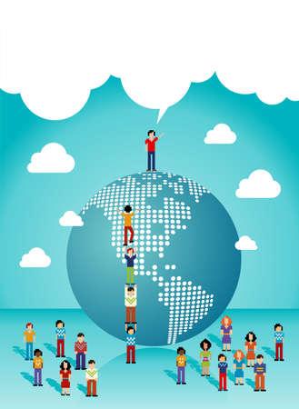 coup de pouce: Les m�dias sociaux r�seau expansion dans le travail d'�quipe Le Vector illustration Am�riques couches pour une manipulation ais�e et la coloration personnalis�e Illustration