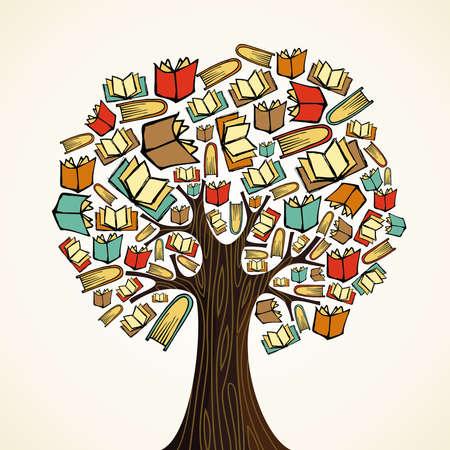 arbol de la sabiduria: �rbol de concepto de educaci�n global hizo los libros del archivo vectorial en capas para la manipulaci�n f�cil y personalizada para colorear
