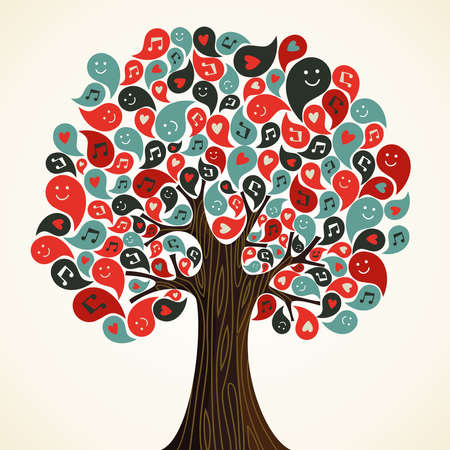 reach: Abstract musical floral tree with icons  Vector illustration layered for easy manipulation and custom coloring