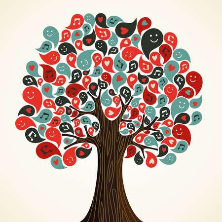 Zusammenfassung musikalischen florale Baum mit Icons Vektor-Illustration für einfache Handhabung und individuelle Färbung geschichtet