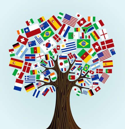 Flags of the World tree  countries participants of Soccer Cup 2010  Vector file available
