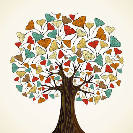 ginkgo: Abstract autumn time tree with ginkgo leaves  Vector illustration layered for easy manipulation and custom coloring  Illustration