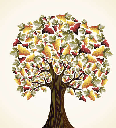 Wine and grapes industry concept tree  Vector illustration layered for easy manipulation and custom coloring  Vector