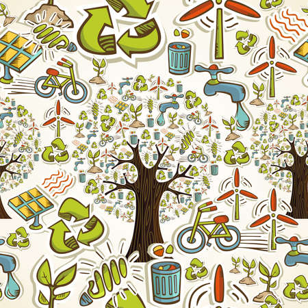 energy conservation: Environmental conservation hand drawn icons seamless pattern background  Vector illustration layered for easy manipulation and custom coloring
