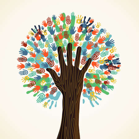 education help: Isolated diversity tree hands illustration. Vector file layered for easy manipulation and custom coloring. Illustration