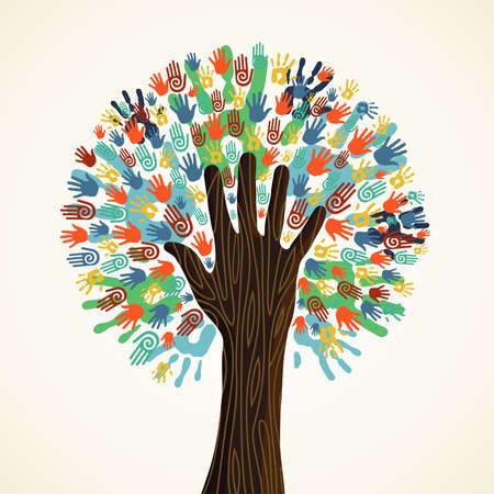 paz mundial: Árbol aislado manos diversidad ilustración. Archivo vectorial en capas para una fácil manipulación y coloración personalizada.
