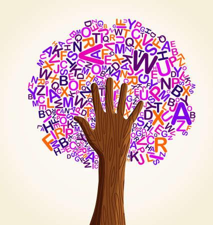 arbol de la sabiduria: Aprenda a leer a la mano la educaci�n escolar �rbol concepto. Archivo vectorial en capas para una f�cil manipulaci�n y coloraci�n personalizada.
