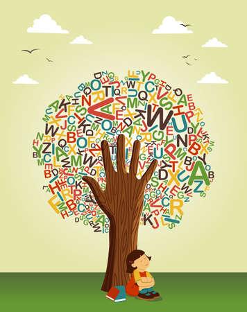 защитник: Назад в школу дерева концепции. Учитесь читать совместного образования. Векторный многослойный файл для облегчения работы и пользовательские окраску.