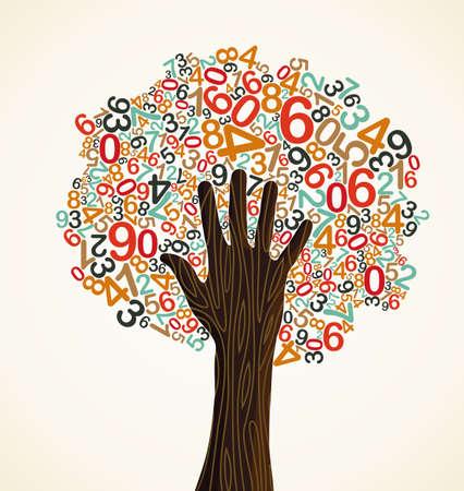 La educación escolar árbol de conceptos hizo con los números y de la mano humana. Archivo vectorial en capas para la manipulación fácil y colorante de encargo.