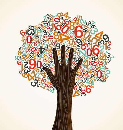 School education concept tree made with numbers and human hand. Vector file layered for easy manipulation and custom coloring. Vector