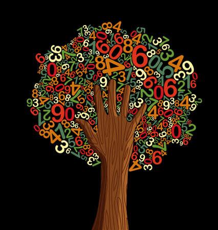 arbol de la sabiduria: La educaci�n escolar concepto �rbol hecho con cartas y la mano humana. Archivo vectorial en capas para una f�cil manipulaci�n y coloraci�n personalizada.