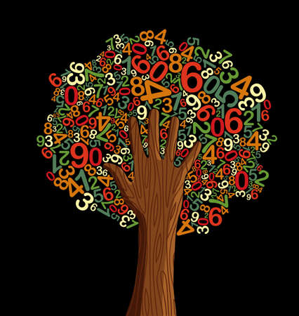 grammar: School education concept tree made with letters and human hand. Vector file layered for easy manipulation and custom coloring. Illustration