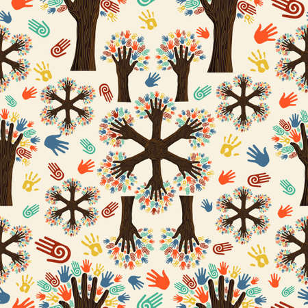 Diversity tree hands seamless pattern. Vector illustration layered for easy manipulation and custom coloring. Vector