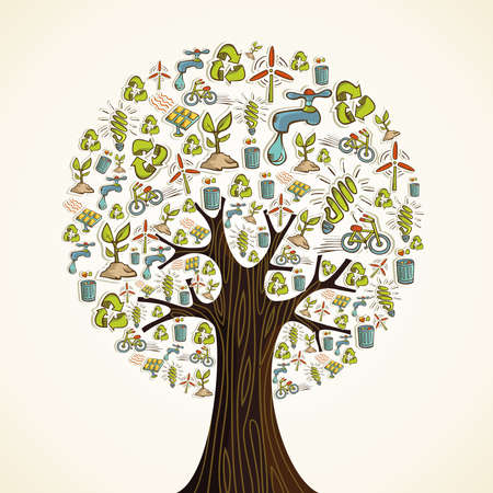 sustainable energy: Environmental conservation hand drawn icons in tree shape. Vector illustration layered for easy manipulation and custom coloring. Illustration
