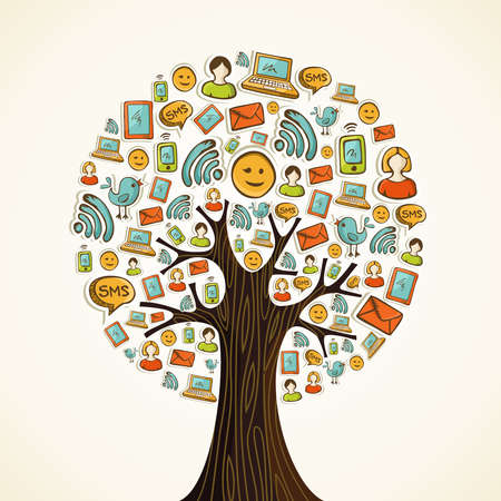 forums: Hand drawn social network icons in tree shape. Vector illustration layered for easy manipulation and custom coloring. Illustration