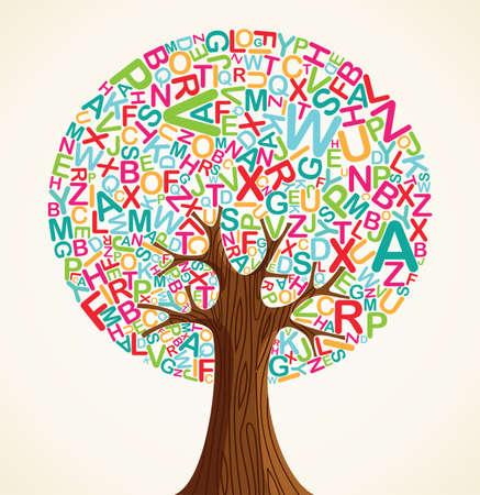 arbol de la sabiduria: La educaci�n escolar concepto �rbol hecho con letras. Archivo vectorial en capas para una f�cil manipulaci�n y coloraci�n personalizada.