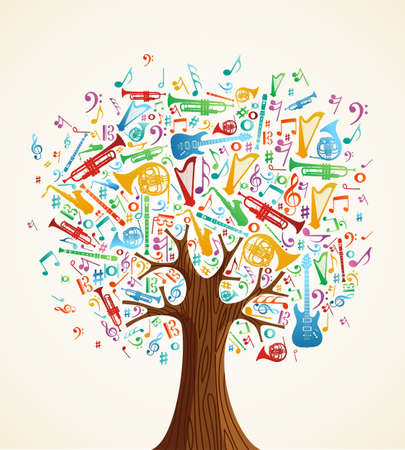 Abstract musical tree made with instruments shapes illustration. Vector file layered for easy manipulation and custom coloring. Stock Vector - 14777591