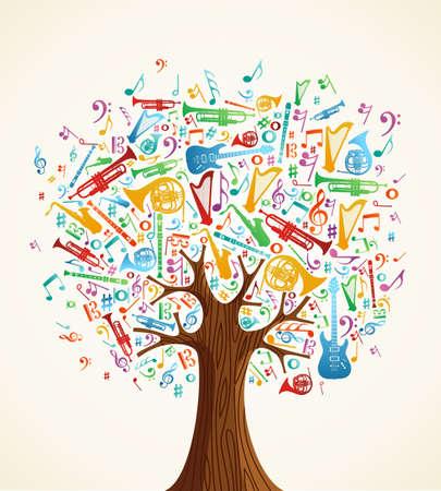 musica clasica: �rbol musical abstracta hecha con instrumentos de ilustraci�n de las formas. Archivo vectorial en capas para la manipulaci�n f�cil y colorante de encargo. Vectores