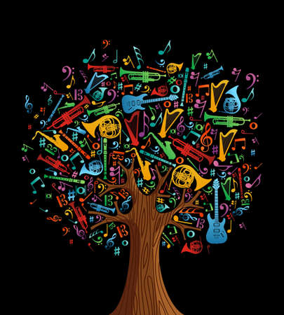Abstract musical tree made with instruments shapes illustration. Vector file layered for easy manipulation and custom coloring. Vector