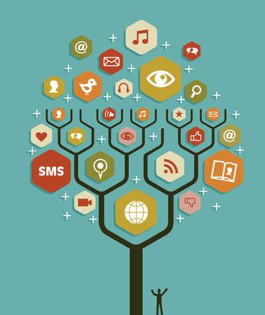 tiếp thị: Kế hoạch đội ngũ kinh doanh tiếp thị mạng xã hội cây. Minh hoạ vector lớp làm thao tác dễ dàng và tùy chỉnh màu.