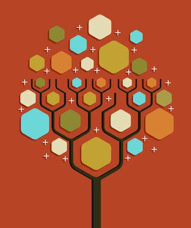 tree diagram: Social network albero bianco business diagramma di layout. Illustrazione vettoriale a strati per una facile manipolazione e la colorazione personalizzata.