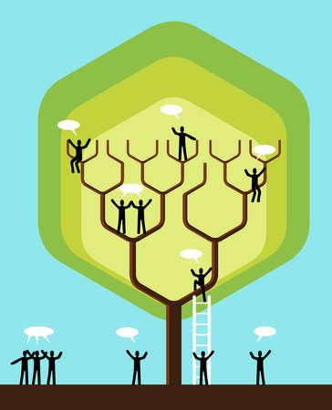 conceito: Estrutura de rede social árvore negócio equipe. Ilustração do vetor em camadas para fácil manipulação e coloração personalizada.
