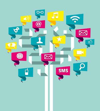 the internet: Social network business plan albero con foglie icona. Illustrazione vettoriale a strati per una facile manipolazione e la colorazione personalizzata.