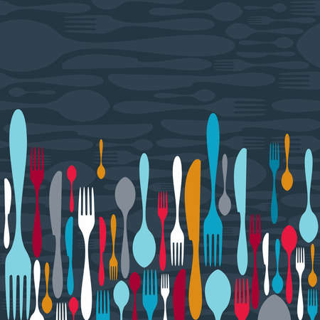 knives: Multicolored cutlery icons pattern background. Vector illustration layered for easy manipulation and custom coloring.