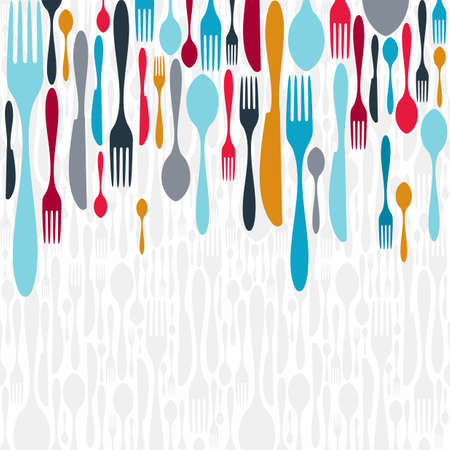 utencilios de cocina: Iconos cubiertos multicolores de fondo. Ilustración vectorial en capas para una fácil manipulación y coloración personalizada. Vectores
