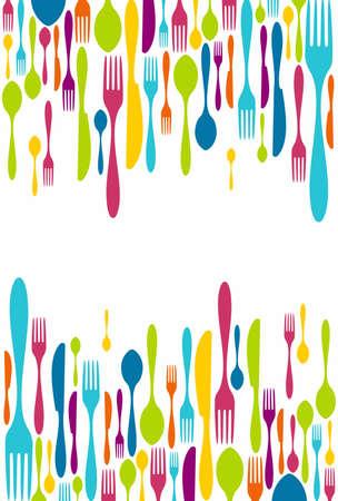 silverware: Iconos cubiertos multicolores de fondo. Ilustraci�n vectorial en capas para una f�cil manipulaci�n y coloraci�n personalizada. Vectores