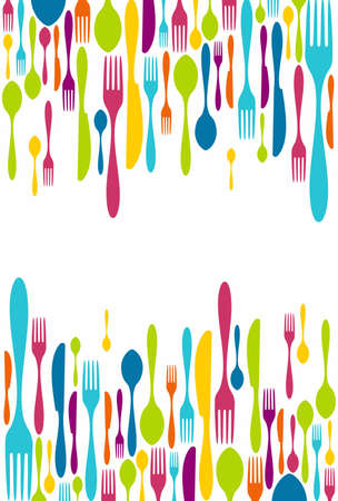 eating utensil: Multicolored cutlery icons background. Vector illustration layered for easy manipulation and custom coloring. Illustration