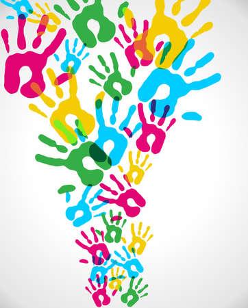 multiplicity: Multicolor creative diversity hands splash background. Vector illustration layered for easy manipulation and custom coloring. Illustration