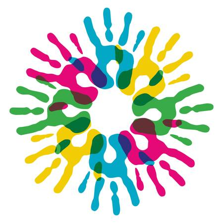 Multicolor creative diversity hands circle isolated. Vector illustration layered for easy manipulation and custom coloring. Vector