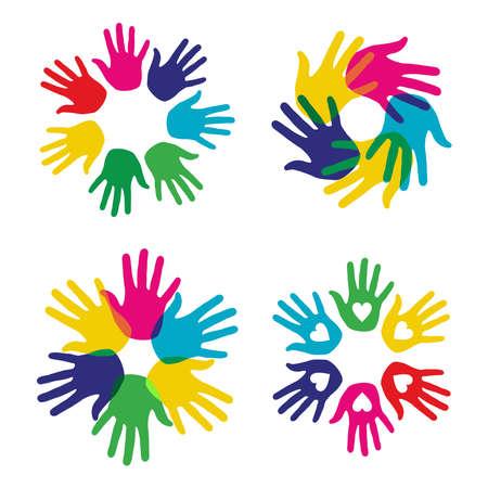 democracia: Multicolor manos creativas diversidad s�mbolos establecido. Vector ilustraci�n en capas para la manipulaci�n f�cil y colorante de encargo.